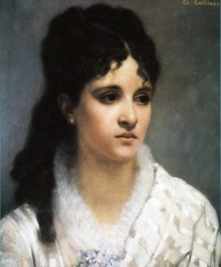 Mel Bonis painting by Charles-Auguste Corbineau (1835-1901), French artist / Public domain